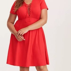 Red Jersey Lace- Up Skater Dress